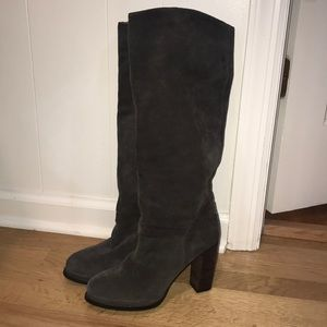 Jeffrey Campbell Grey Suede Knee High Boots